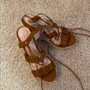Liliana cognac faux suede platform wedges new!